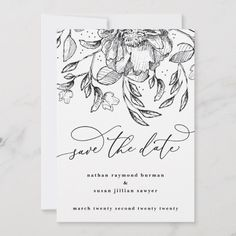 Shop Black White floral calligraphy Save the Date Card created by PhrosneRasDesign. Personalize it with photos & text or purchase as is! Save The Date Photos, Save The Date Cards, Boho Wedding, Wedding Day, Calligraphy Save The Dates, Monogram Wedding, Wedding Save The Dates, Zazzle Invitations, Photo Cards