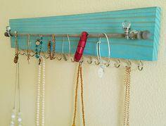 Wood Necklace hanger/ Necklace Holder/ Necklace Organizer / Removable rod to hang Bracelets and 18 Necklace Hooks!