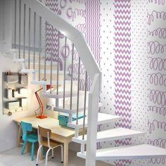 fototapeta dla dzieci rózowa Loft, Bed, Furniture, Home Decor, Lofts, Stream Bed, Interior Design, Home Interior Design, Beds