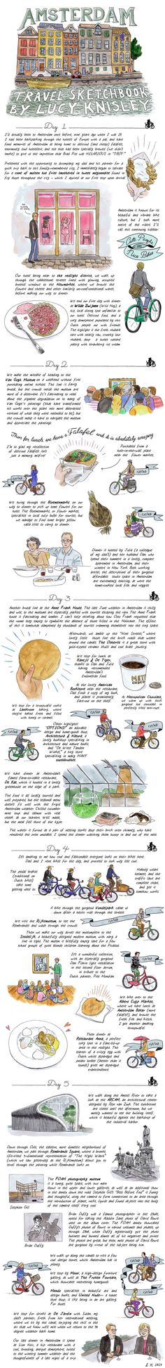 cartoonist Lucy Knisley... shares part of the story of a recent trip she took to Amsterdam. While there, she spent a majority of her time on two wheels exploring the city's stunning art scene and shops—including one that specializes in toothbrushes—and indulging in plenty of amazing local eats, from falafel to stroopwafel to potato sorbet.