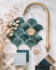 Bathroom Interior, Home Interior, Interior Styling, Moodboard Interior Design, Interior Plants, Mermaid Tile, Gothic Home Decor, Gothic House, Home Decor Paintings