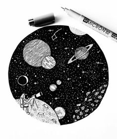 Venture out into the cosmos  - Tattoo Design Astronaut Tattoo, Astronaut Drawing, Black Pen Drawing, Stylo Art, Pen Tattoo, Tattoo Art, Space Drawings, Pen Drawings, Vinyl Record Art
