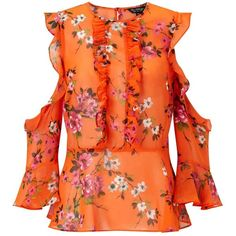 Miss Selfridge Orange Floral Frill Cold Shoulder Blouse ($68) ❤ liked on Polyvore featuring tops, blouses, orange, cut out shoulder top, open shoulder top, cold shoulder tops, orange blouse and cold shoulder blouse