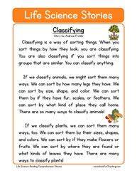 life science stories comprehension classifying