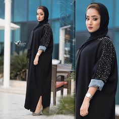 Image may contain: 2 people, people standing Arab Fashion, Islamic Fashion, Muslim Fashion, Modest Fashion, Fashion Dresses, Fashion Shoot, Modern Abaya, Black Abaya, Arabic Dress