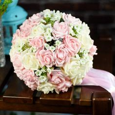 Romantic Pink Purple 30 Rose Cheap Wedding Bouquet Mixed Colors Bridal Accessories 2015 High Fashion Bridesmaids Hand Holding Flowers HC from Engerlaa,$16.91 | DHgate.com