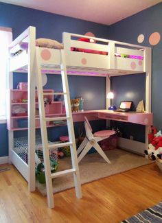 Bedroom, Trendy And Charming White Wooden Loft Bed Design With Stairs Also Smart Pink Study Table And Folding Chairs On Small Bedroom Rugs O...