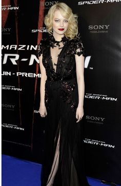 Emma Stone Channels Gothic Glamour At Paris Spider-Man Premiere. Love the pale skin.