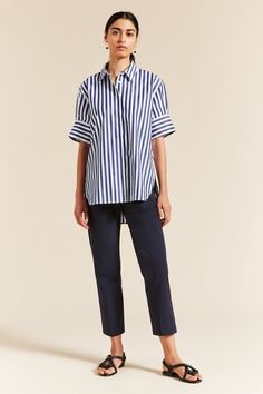 Whistler Folded Cuff Shirt - Lee Mathews Shirt Cuff, Linen Shorts, Color Stripes, Striped Shorts, Denim Jeans, Project 333, Short Sleeves, Normcore, Whistler