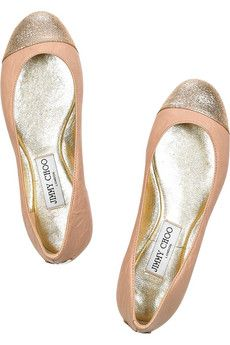 Jimmy Choo  Blush leather ballerina flats with a glitter-finish toe. Jimmy Choo ballerina flats have a round toe, a designer-stamped gold plaque at back of heel, a rubber sole and simply slip on. Designer color: Powder Pink.