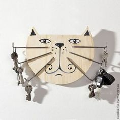 Items similar to Original Wood Key Holder Big Cat with Iron Moustache on Etsy - You are in the right place about diy crafts Here we offer you the most beautiful pictures about th - Wooden Projects, Wooden Crafts, Wooden Diy, Cat Crafts, Home Crafts, Wooden Key Holder, Wood Creations, Scroll Saw, Wood Toys