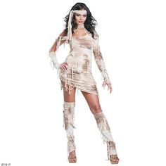 This marvelous mummy costume for women is out of the tomb and ready to party! A scarily seductive outfit, this alluring undead creature has sexy Halloween costumes all wrapped up. The tattered, bandage-like dress is a must-have look for all those magnificent, mystical mummies out there!Includes:• Dress• Glovelettes• Headband• Leg warmersSpecial Shipping Information: This item ships separately from other items in your order. Imported.