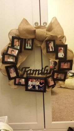 Family picture wreath, my moms mother's day gift Christmas Frames, Diy Christmas Gifts, Holiday Gifts, Family Christmas Pictures, Family Pictures, Mothers Day Crafts, Mothers Day Wreath, Homemade Crafts, Diy And Crafts