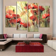 Frameless Flower Print on Canvas Wall Painting Art Print and Poster Home Decoration Oil Painting Picture for Living Room 4pcs