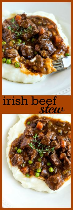 Irish Beef Stew - Beef is slow cooked with veggies and beer to make it super tender and comforting. Irish Beef Stew - Beef is slow cooked with veggies and beer to make it super tender and comforting. Irish Stew, Beef Bourguignon, Beef Stroganoff, Stew Meat Recipes, Crockpot Recipes, Beef Stew Recipe With Beer, Slow Cooked Beef Stew, Slow Cook Beef Recipes, Stewing Beef Recipes