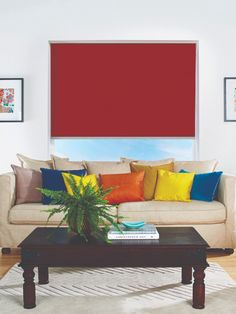 This stunningly red blind adds a vibrancy to your room that you won't soon find anywhere else. Block out the sun and let the style shine through! Red Blinds, Roller Blinds, Blinds For Windows, Curtains With Blinds, Blockout Blinds, Beautiful Blinds, Blinds Online, Interior Styling, Interior Design