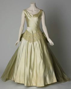 Chiffon Embellished Satin Evening Gown, ca. 1955 Jean Dessès via Liverpool Museums