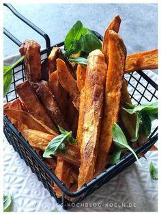 Suesskartoffel Pommes mit Kraeutern aus Ofen Kraut, Snacks, French Toast, Burger, Breakfast, Dips, Pizza, Finger Food, Morning Coffee