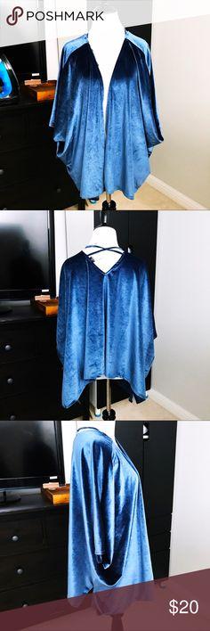 """Velour velvet like kimono dusty blue Fit: loose Mannequin Details: Height of torso: 27"""". Shoulder to shoulder width: 14"""" Bust: 33"""". Waist: 24"""". Hips 34"""" Tops"""