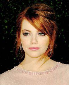 Red Hair Side Swept Bangs