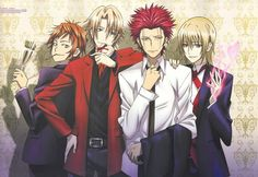 k project yata misaki suoh mikoto kusanagi izumo totsuka tatara high resolution official art scan blonde earrings fire food formal jewelry male piercing pocky quartet red hair ring short hair smile standing suit sweets Anime K, Anime Guys, Anime People, Kk Project, Missing Kings, Suoh Mikoto, Return Of Kings, Kagerou Project, Kaichou Wa Maid Sama