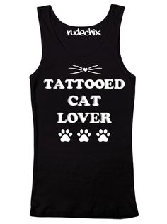 "Women's ""Tattooed Cat Lover"" Tank by Rudechix (Black)"