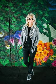 mural, grey wrap, black denim