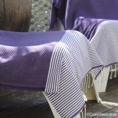 Foutas Nids Abeille Rayures Violettes Dish Towels, Tea Towels, Bath Table, Greek Blue, Turkish Towels, Table Linens, Honeycomb, Hand Weaving, Blankets