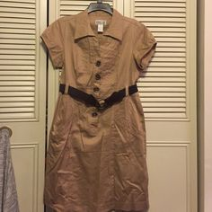 Dress Tan shirt waste dress. Only worn once. Comfortable and casual!! Robbie Bee Dresses