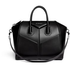 Givenchy 'Antigona' medium 3D leather satchel ($2,915) ❤ liked on Polyvore featuring bags, handbags, purses, bolsos, black, black satchel, leather purse, genuine leather purse, black leather satchel and givenchy purse