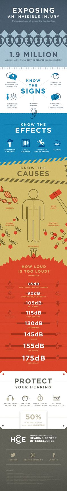 This infographic provides an overview of the common causes and consequences of hearing loss. It provides tips to guard against noise-induced hearing l