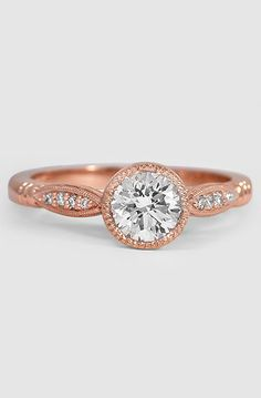 14K Rose Gold Lyra Diamond Ring