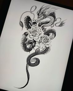 Dragon Tattoo With Flowers, Dragon Tattoo Colour, Small Dragon Tattoos, Dragon Tattoo For Women, Dragon Tattoo Designs, Small Tattoos, Rose Tattoos For Women, Tattoos For Women Half Sleeve, Sleeve Tattoos For Women