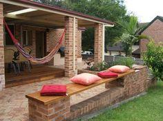 Deck or patio? No need to decide. Love the bench too! Garden Seats, Back Garden Design, Brick Garden, Old Bricks, Outdoor Furniture, Outdoor Decor, Bench, Patio, Spaces