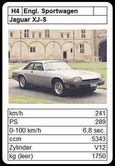 Jaguar XJ-S Jaguar Xj, Top Trumps, Xjr, Hot Wheels, Vintage Cars, Graphic Art, Classic Cars, Automobile, Youth