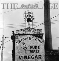 Picture taken 1968 The Skipping Girl Sign or Skipping Girl Vinegar Sign, colloquially known as Little Audrey, is the first animated neon sign in Australia. The sign is located on Victoria Street within the inner Melbourne suburb of Abbotsford.