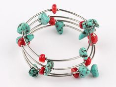 Handmade red coral and turquoise bracelet.  $10.99  #jewelry #bracelet #turquoise #earrings