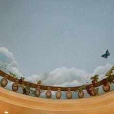 Breakfast nook sky ceiling mural