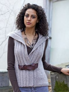 Berroco® Booklet Pattern | Proxy -- the belt comes outside the vest in the back, too! Knit in Voyage (chainette construction yarn looks like)