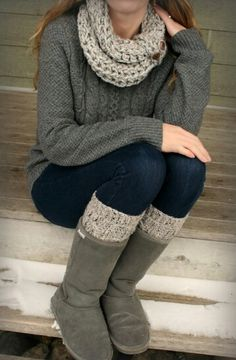 Knit sweater, scarf and leg warmers ♥ Made my own version of this today and love it!!!!rh