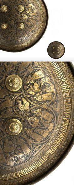 Persian shield, Separ, Iran, Qajar period, century A. Ancient Armor, Medieval Armor, Persian Warrior, Persian Shield, Knight Armor, Historical Artifacts, Arm Armor, Vintage Helmet, Archaeology
