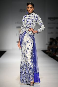 Ivory and blue embroidered sari with blue pearl flower jacket and lace trousesr available only at Pernia's Pop Up Shop.