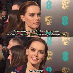 Daisy Ridley dropping spoilers for Episode VIII on the red carpet today... (x-post /r/StarWars) http://ift.tt/2kIrdsK