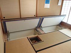 Under floor storage Japanese Architecture, Interior Architecture, Interior And Exterior, Japanese Interior, Japanese Design, Small Apartments, Small Spaces, Tatami Room, Interior Decorating