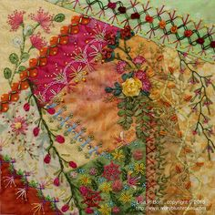 Absolutely stunning crazy quilt block by Lisa P. Boni. Excellent use of ribbon, beads, stitches.