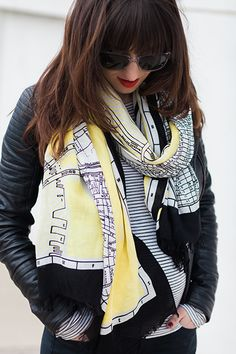 dress up a basic outfit with a fun print scarf // favorite NYC subway map scarf