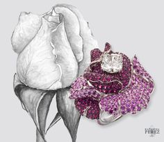 Picchiotti Rose ring set in white gold and paved with sapphires surrounding a cushion cut diamond