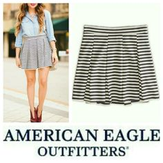 BUNDLE for $3.99 Shipping! Striped Mini Skirt Gray and cream stripes on a pleated material. Elasticized waistband in the back. Length from top of waistband to hem is 16 1/2 inches lying flat. Smoke/pet-free home.  ✈ Fast Shipping ✈  Thanks for browsing my closet! American Eagle Outfitters Skirts Mini