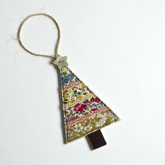 Embroidered fabric Christmas tree hanging decoration handmade by Stitch Galore Fabric Christmas Decorations, Fabric Christmas Trees, Christmas Bunting, Handmade Christmas Tree, Christmas Diy, Christmas Ornaments, Christmas Stocking, Christmas Sewing Gifts, Stocking Tree