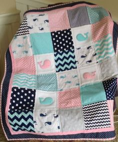 Pink Aqua & Gray Nautical Quilt/Nautical pink by Lovesewnseams